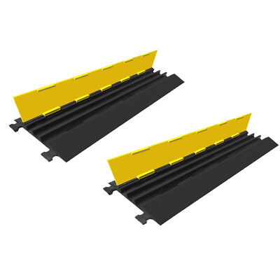 Set of 2 x 1m 3 Channel Cable Protector Guard Ramp Cord Covers  - Value Pack