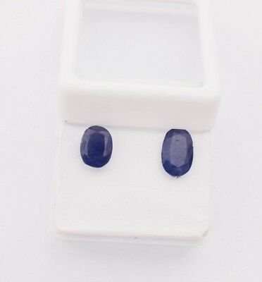 Certified 3.45 cts Pair of Natural Blue Sapphire Burma Mine Unheated Gemstone