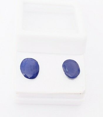 Certified 4.00 cts Pair of Natural Blue Sapphire Burma Mine Unheated Gemstone