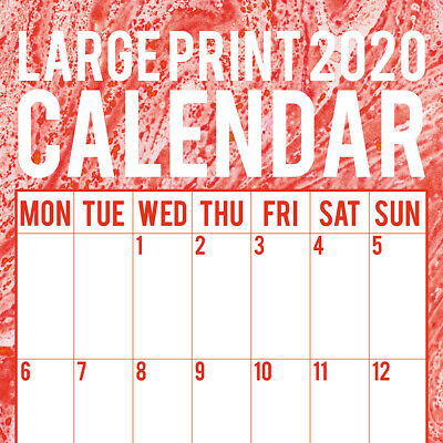 Large Print Calendar 2020 Square Wall Calendar by Gifted Stationery