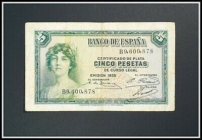 5 Pesetas ESPANA Banknote from Spain 1935