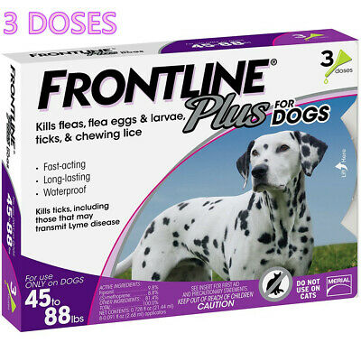 Frontline Plus for Dogs Large Dog (45 to 88 Ibs) Flea and Tick Treatment-3 Doses