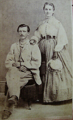 Antique Civil War Era Cdv Photo Of Lovely Fashionable Young Couple Mansfield Oh