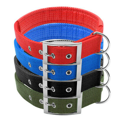 Durable Nylon Military Dog Collars Soft Padded Metal Buckle Army Green 5 Sizes