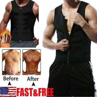 Men's Sweat Vest Body Shaper Zipper Slimming Sauna Tank Top Neoprene Chaleco US