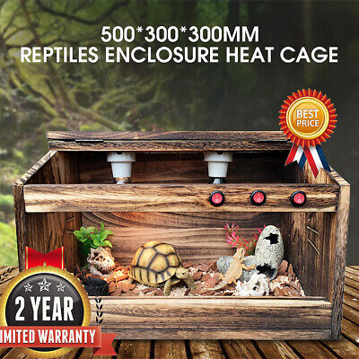 WOODEN REPTILES ENCLOSURE Heating Cage Lizard Frog Snake