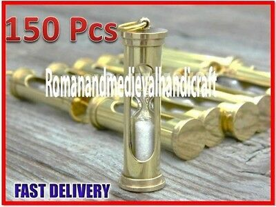 Wholesale Price Lot of 150 Brass Sand Timer-Necklace & keychain Hour Glass