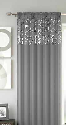 Grey Silver Voile Arran Metallic Swirl Voile Net Curtain Slot Top Single Panel
