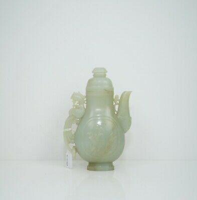 A Celadon Jade Ewer with Cover