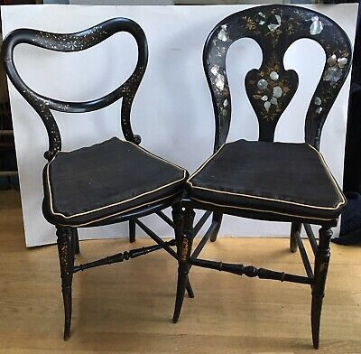Antique mid 19th century - a pair of chairs inlaid with mother of pearl