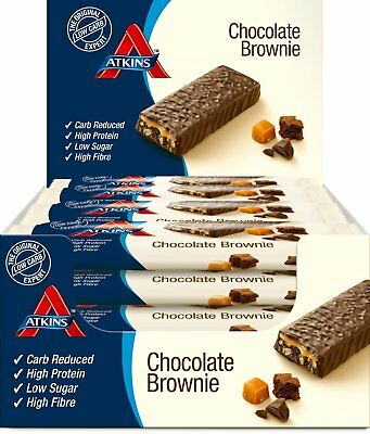 Atkins Low Carb High Protein Chocolate Brownie Snack Bar 16 x 60g 3.1g Net Carb