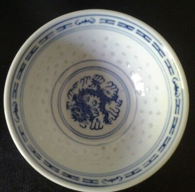 Pair of Vintage BLUE PORCELAIN DRAGON RICE BOWLS, Chinese