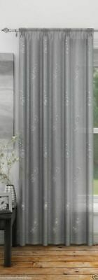 Silver Grey Analise Embroidered Sequin Spot Voile Curtain Slot Top Single Panel