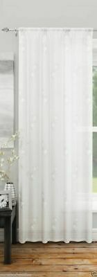 White Voile Analise Embroidered Sequin Spot Voile Curtain Slot Top Single Panel