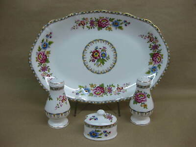 Royal Grafton Malvern Salt, Pepper & Mustard Pots & Sandwich Plate /Serving Dish