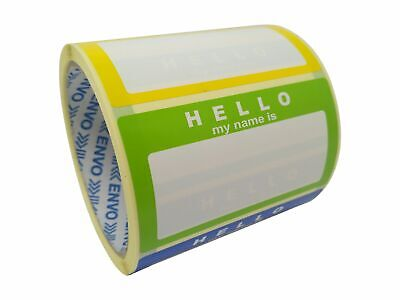 Name Stickers/ Name Labels - Hello My Name Is - BLUE GREEN YELLOW 250x 90mmx50mm