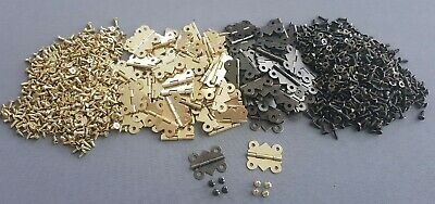 Gold or Brown Hinges Doll House Door Craft Antique Box Chest Woodworking Screws