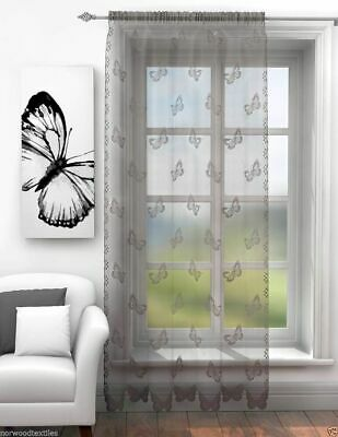 Silver Grey Voile Butterfly Lace Sheer Voile Net Curtain Slot Top Single Panel