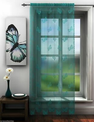 Teal Lace Voile Butterfly Lace Sheer Voile Net Curtain Slot Top Single Panel