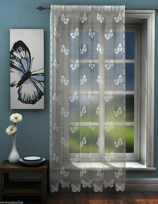 White Lace Voile Butterfly Lace Sheer Voile Net Curtain Slot Top Single Panel