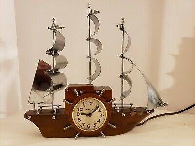 "1950's Mastercrafters Sessions ""Yankee Clipper"" Nautical Ship Mantel Shelf Clock"