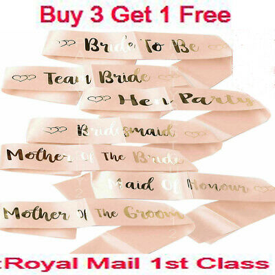 Hen Party Sashes Team Bride To Be Sash Wedding Girls Night Out Party Rose Gold.