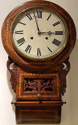 Antique Working 1870's E.N. WELCH Victorian Inlaid Walnut Regulator Wall Clock