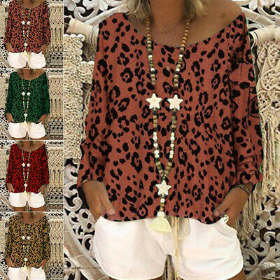 Women Tops Blouse Holiday Loose Tops Blouse Party Leopard Print Round Neck