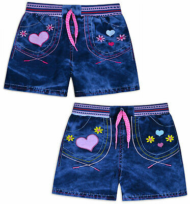 Girls Shorts 100% Cotton Kids New Summer Denim Blue Bottoms Ages 2 3 4 5 6 Years