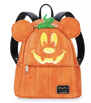 Disney Parks Halloween Mickey Mouse Pumpkin Mini Loungefly Backpack New with Tag