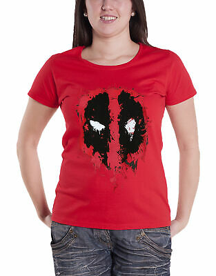 Marvel T Shirt Deadpool Splat Face new Official Womens Brick Red Skinny Fit Size
