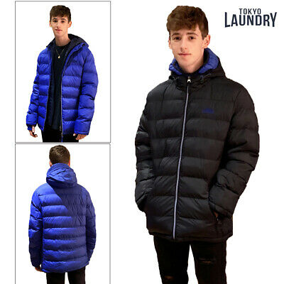 Tokyo Laundry Habeck Mens Hooded Padded Puffer Jacket Double Layered Zip Up Coat