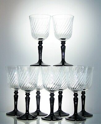 Set of 8 Ripple Clear Glass Bowl With Black Stem Sherry Glasses - 55 ml