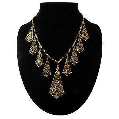 Fringe Filigree Antiqued Gold Tone Pendant Collar Necklace