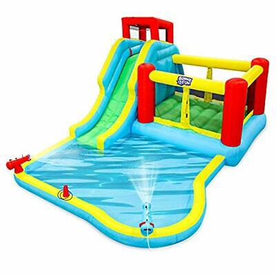 Sunny & Fun Deluxe Inflatable Water Slide Park – Heavy-Duty Nylon Bounce House