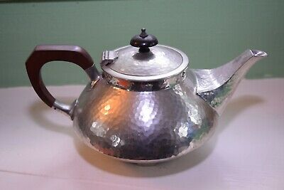 Fenton Brothers Arts & Crafts Style Hand Beaten Pewter Teapot. Good Condition.