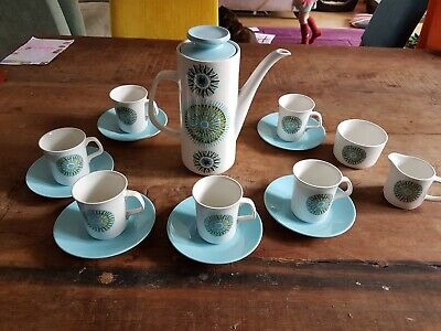 J & G Meakin Aztec Coffee pot , 6 cups and saucers ,cream jug and sugar bowl