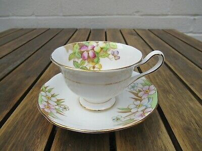 Vintage Royal Albert clematis multi coloured flowers bone china cup and saucer