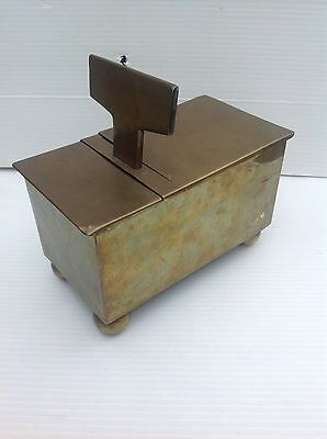 Rare antique early 19th century George III brass tavern honesty tobacco box old