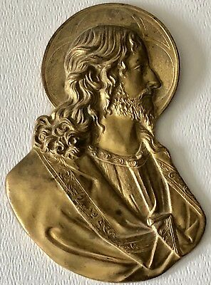Antique Cast Brass Bronze Holy Religious Jesus Christ Halo Icon Bust Wall Plaque