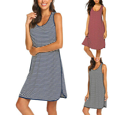 Womens Maternity Stripped Sleeveless Summer Casual Pregnancy Vest Short Dress
