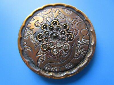 5878 – Large Decorative Brass Antique Button, Glass Beads OME, Scalloped Border
