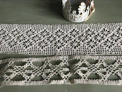 Vintage French Laces 2pc Shelf Edging, Cream Bobbin Laces / Vintage Furnishings