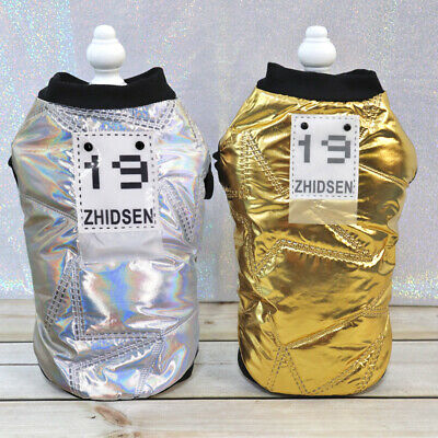 Small Dog Coat Winter Jacket Waterproof Cold Weather Cat Pet Clothes Gold/Silver