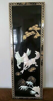 Oriental Black Lacquer Wall Panel With Mother Of Pearl Horse Design.