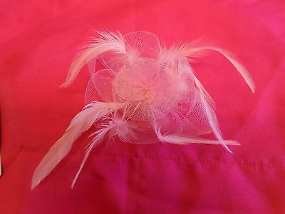 Pink Flower Feathers Bow Lady Fascinator On Pin And Clip Wedding Races Prom