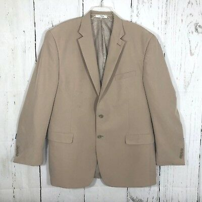 Chaps Mens 46L Sports Coat Jacket Tan Modal/Poly Single Vent Two Button