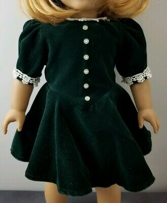Retired American Girl Doll Molly Green Velvet Holiday Christmas Dress Lace Trim