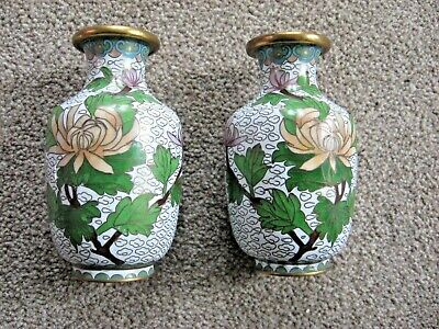 Vintage True Pair Oriental Cloisonne Vases Brass / Enamel - Small - Lovely Items