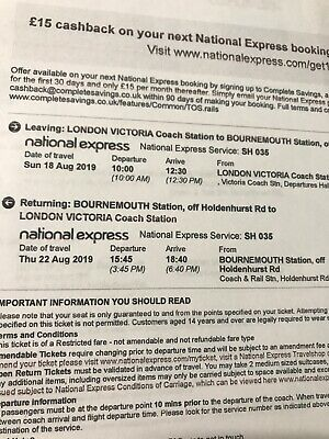National Express 1 Ticket From Bournemouth To London 22th Aug 2019 at 15:45